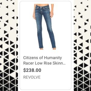 Citizens of Humanity Racer low-rise skinny sz 28
